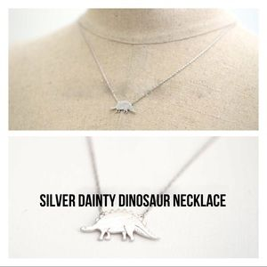 Silver dainty dinosaur necklace new